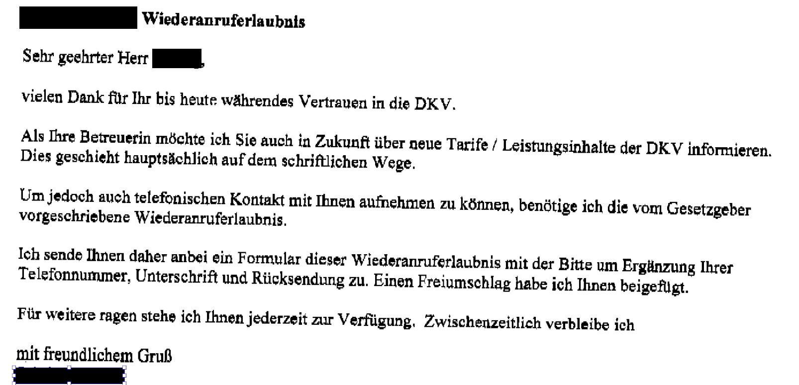 """DKV-Grimm Rückwerbungsversuche - Frechheit oder """"nur"""" fehlende Transparenz?"""