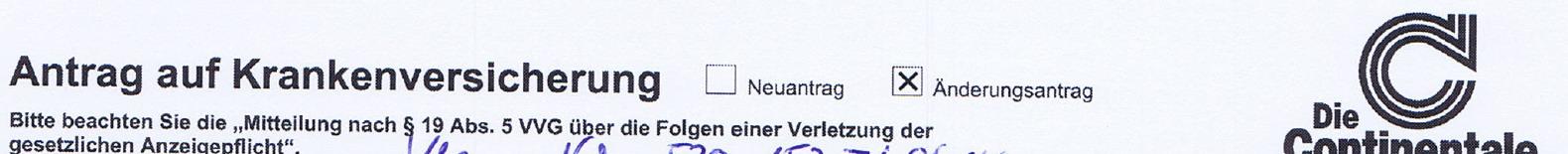 Conti Tarifwechsel -Vertragslaufzeiten-Continentale- VVG.