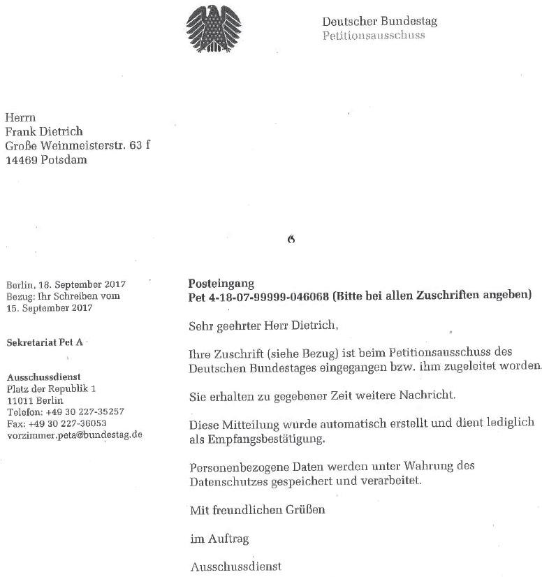 Unbenann1 Petition, Mindeststandards und der Bundestag