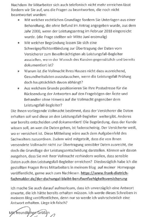 222 An den Vorstand - Nürnberger Lebensversicherung!