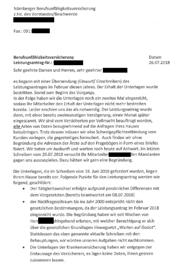 er An den Vorstand - Nürnberger Lebensversicherung!