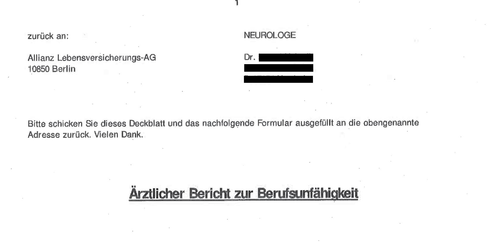 allianz.arztfragebogen Nürnberger Lebensversicherung – Abschließende Antwort.