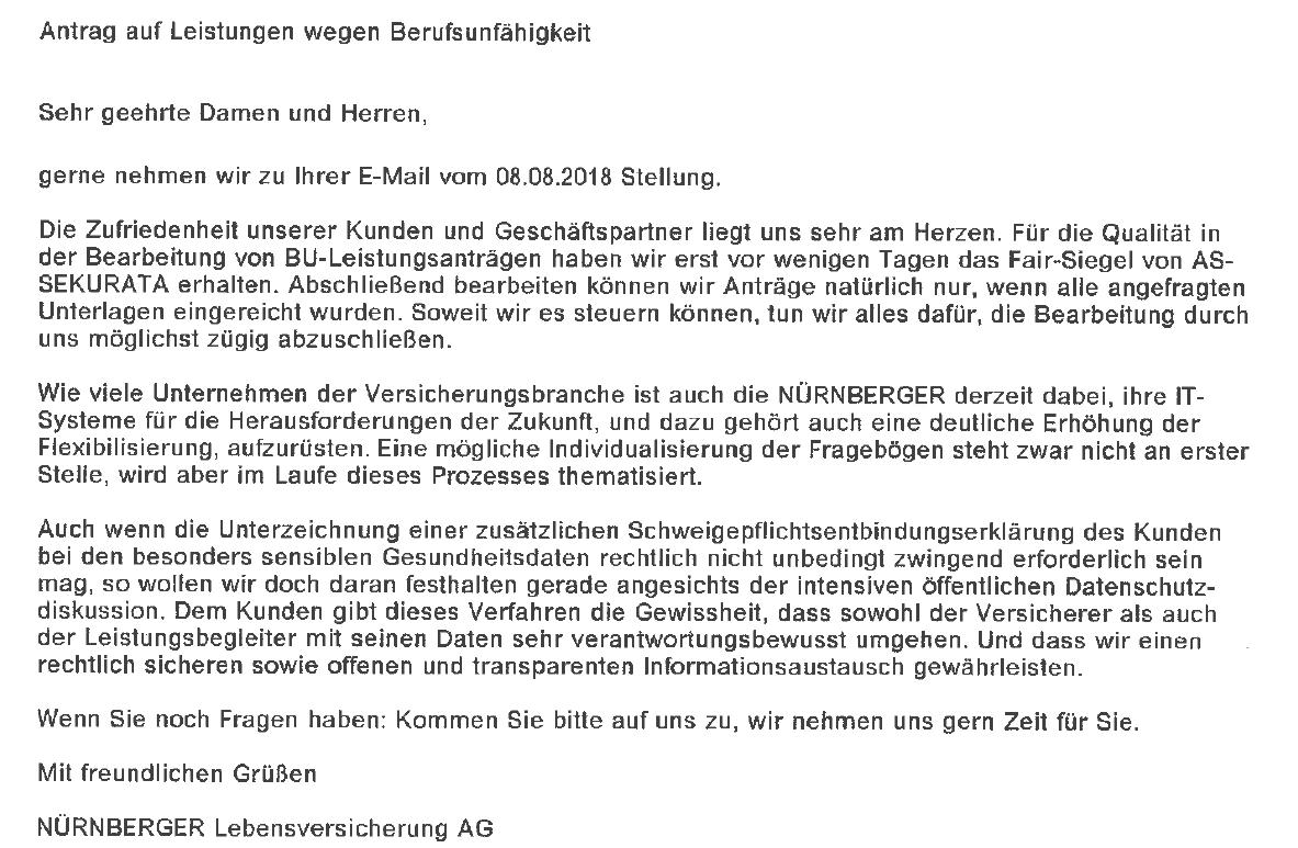 n-1 Nürnberger Lebensversicherung – Abschließende Antwort.